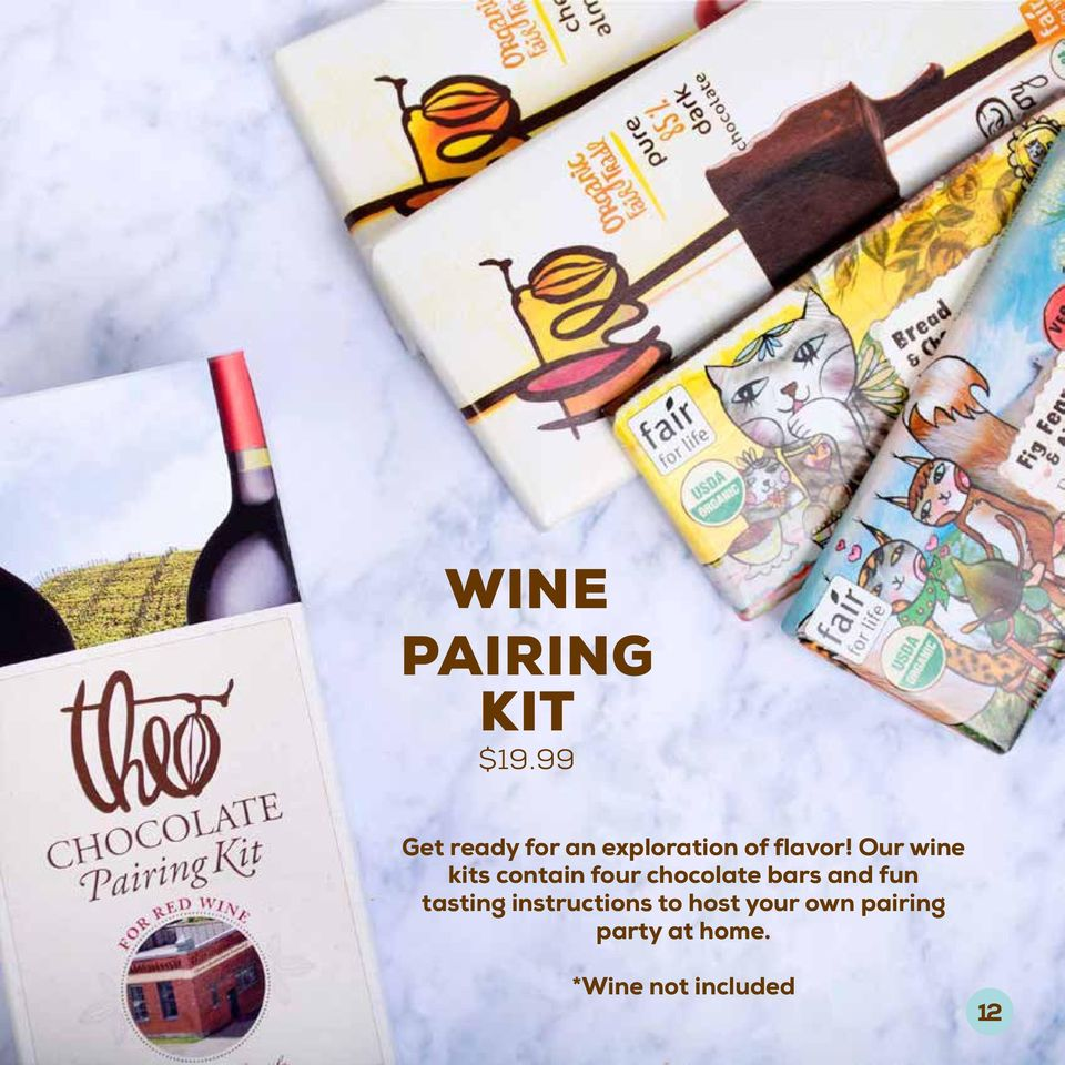 Our wine kits contain four chocolate bars and