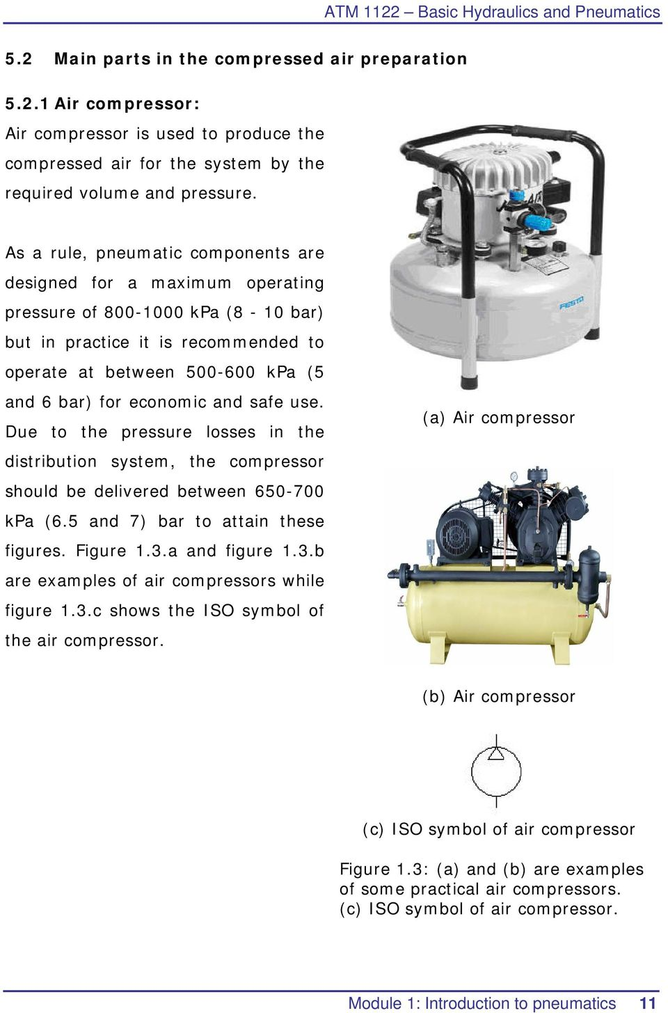 and safe use. Due to the pressure losses in the distribution system, the compressor should be delivered between 650-700 kpa (6.5 and 7) bar to attain these figures. Figure 1.3.