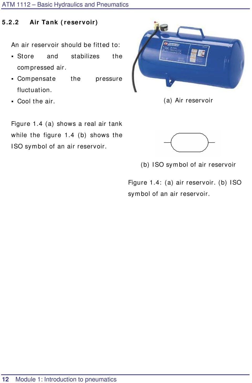 4 (a) shows a real air tank while the figure 1.4 (b) shows the ISO symbol of an air reservoir.