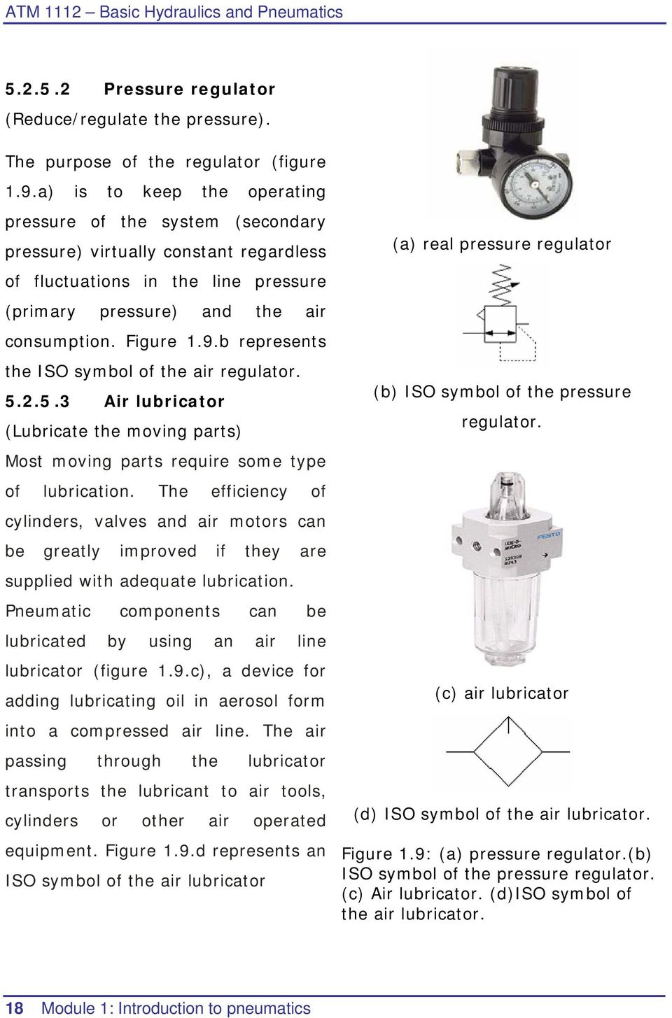 b represents the ISO symbol of the air regulator. 5.2.5.3 Air lubricator (Lubricate the moving parts) Most moving parts require some type of lubrication.