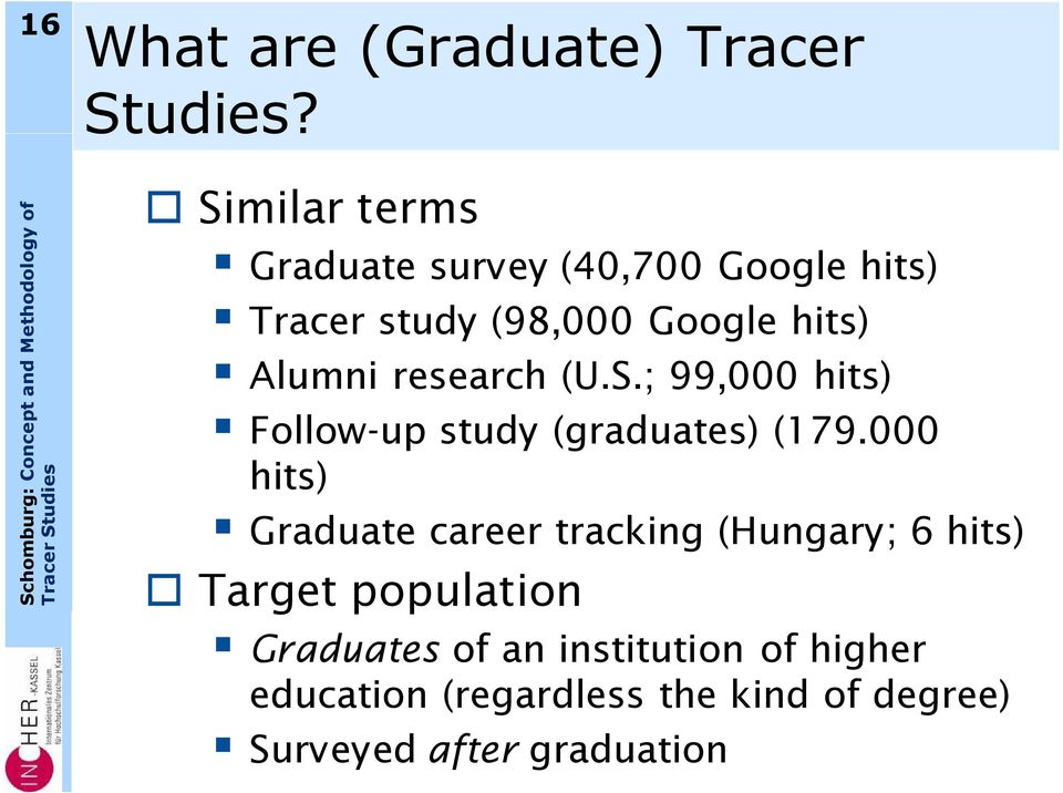 Concept and Methodology of Tracer Studies International