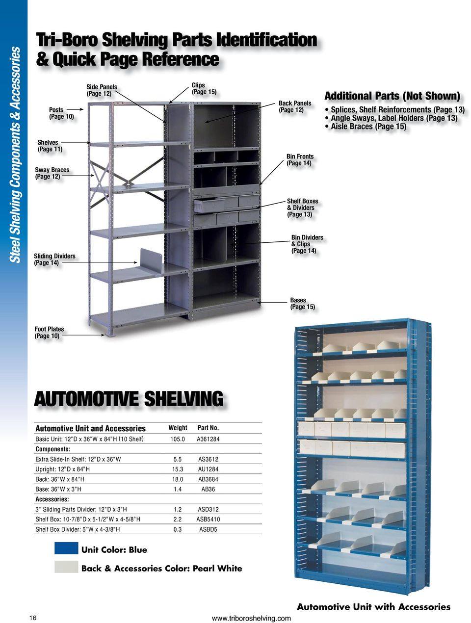 13) Angle Sways, Label Holders (Page 13) Aisle Braces (Page 15) Bases (Page 15) Foot Plates (Page 10) AUTOMOTIVE SHELVING Automotive Unit and Accessories Weight Part No.