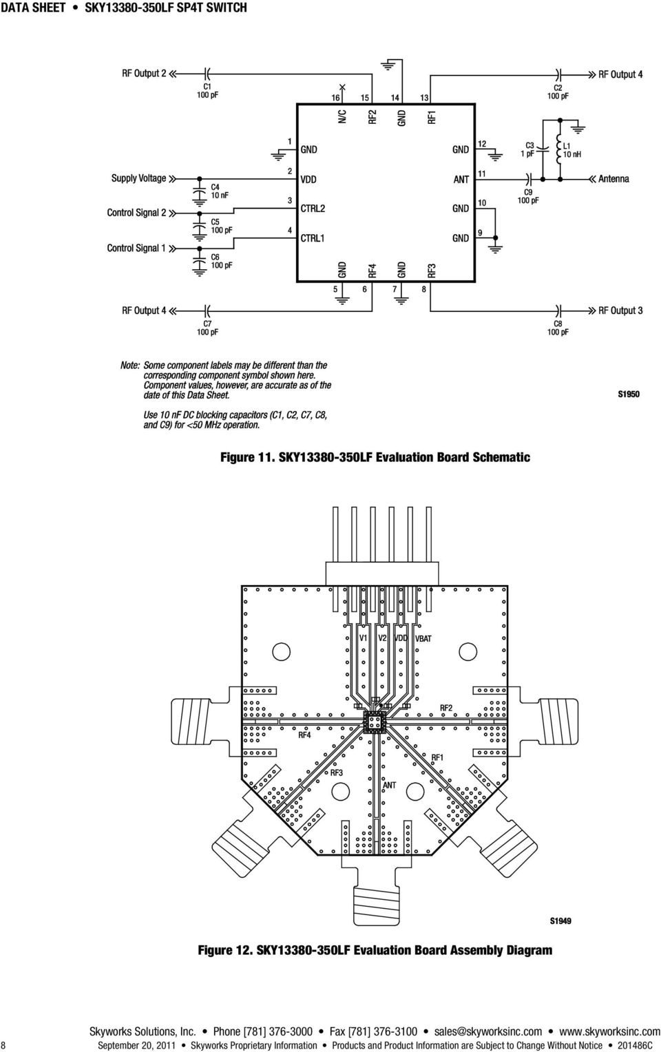SKY13380-350LF Evaluation Board Assembly Diagram 8 September