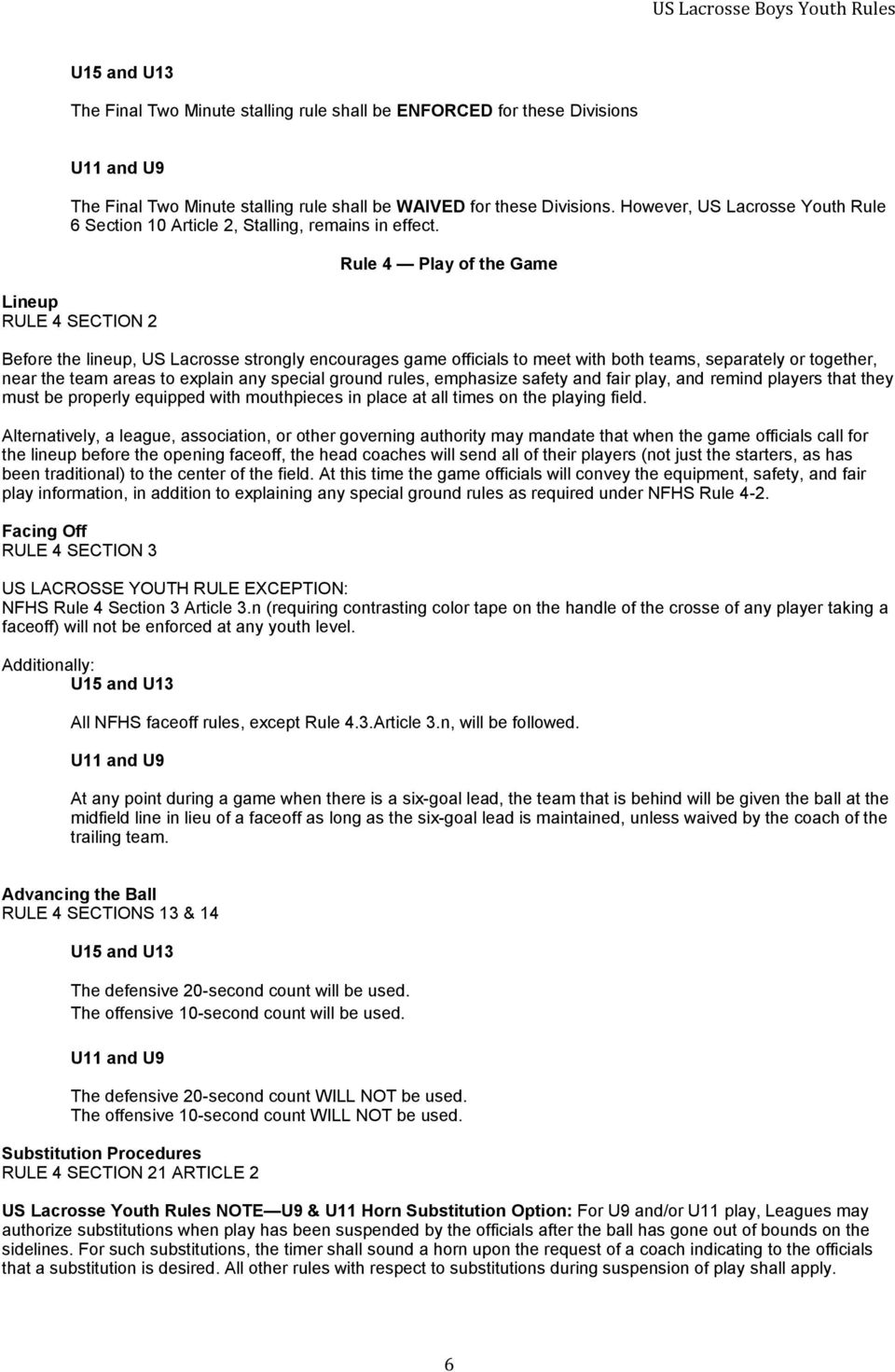 Lineup RULE 4 SECTION 2 Rule 4 Play of the Game Before the lineup, US Lacrosse strongly encourages game officials to meet with both teams, separately or together, near the team areas to explain any