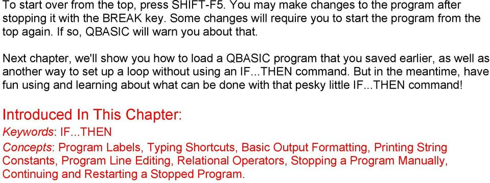 QBASIC Tutorial Table of Contents - PDF