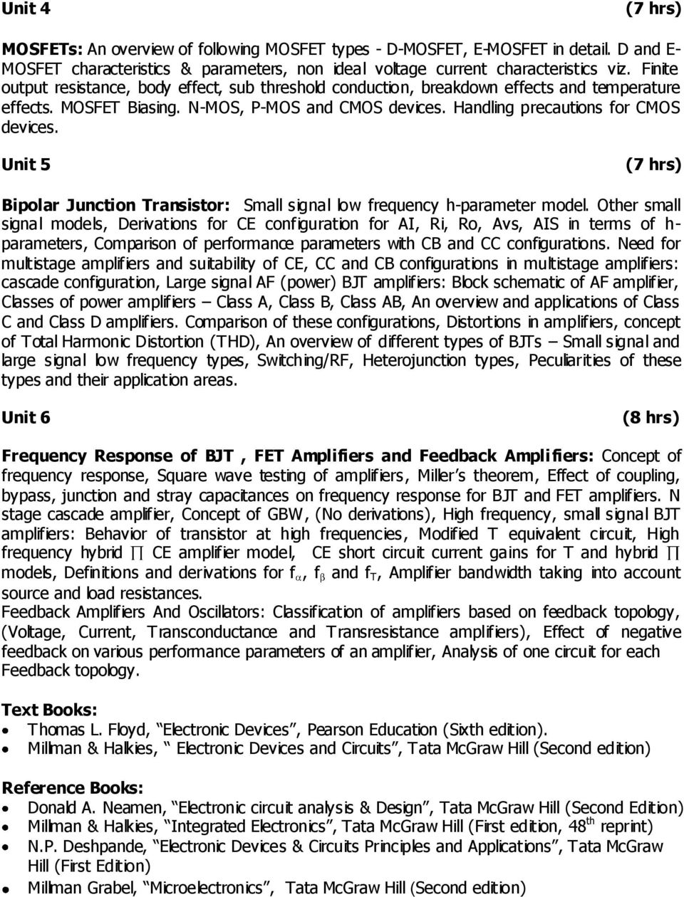 Electronics And Telecommunication Engineering Sy B Tech Electronic Circuit Analysis Design Neamen Free Download Unit 5 7 Hrs Bipolar Junction Transistor Small Signal Low Frequency H