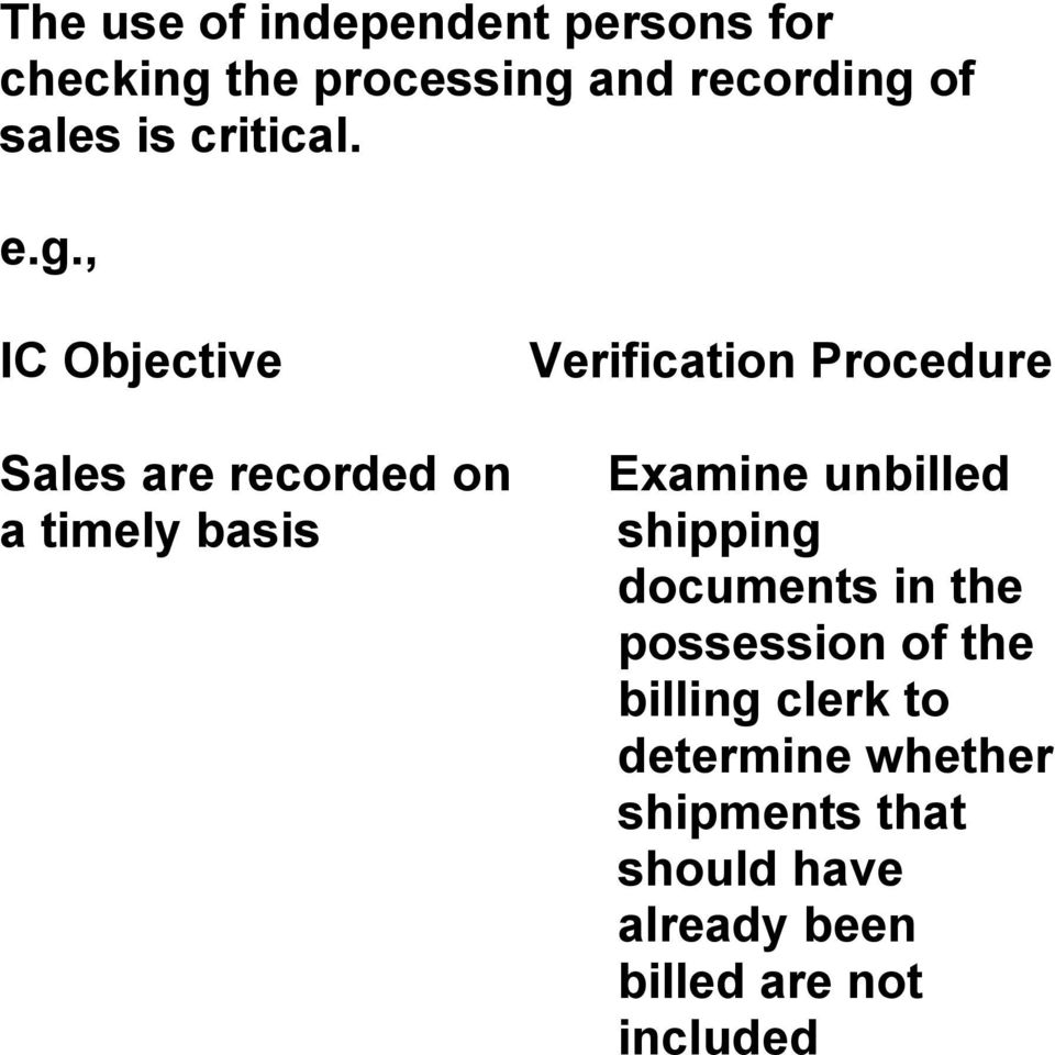 , IC Objective Sales are recorded on a timely basis Verification Procedure Examine