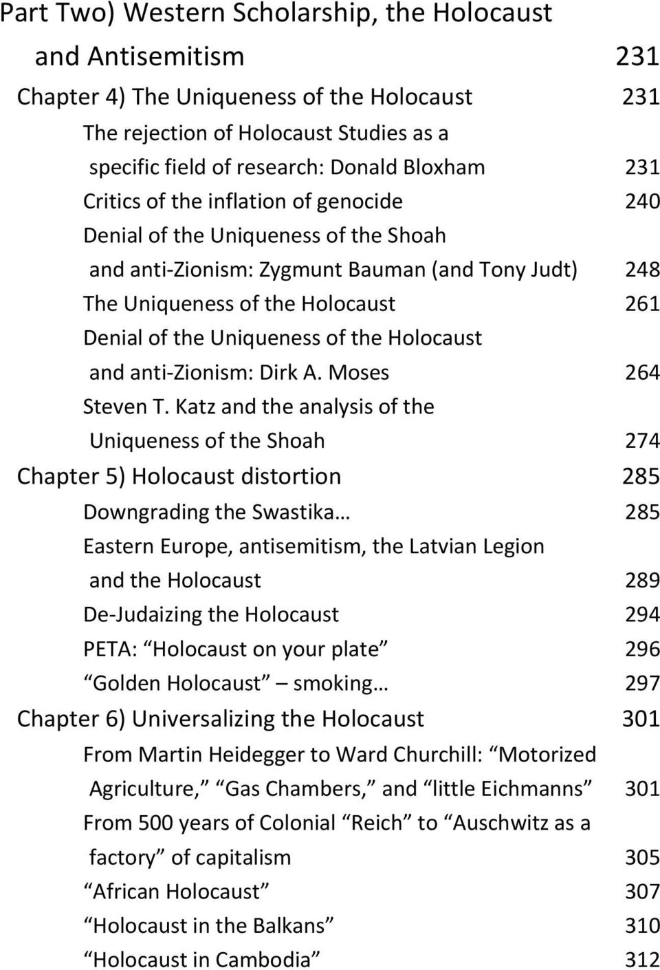 Holocaust and anti Zionism: Dirk A. Moses 264 Steven T.