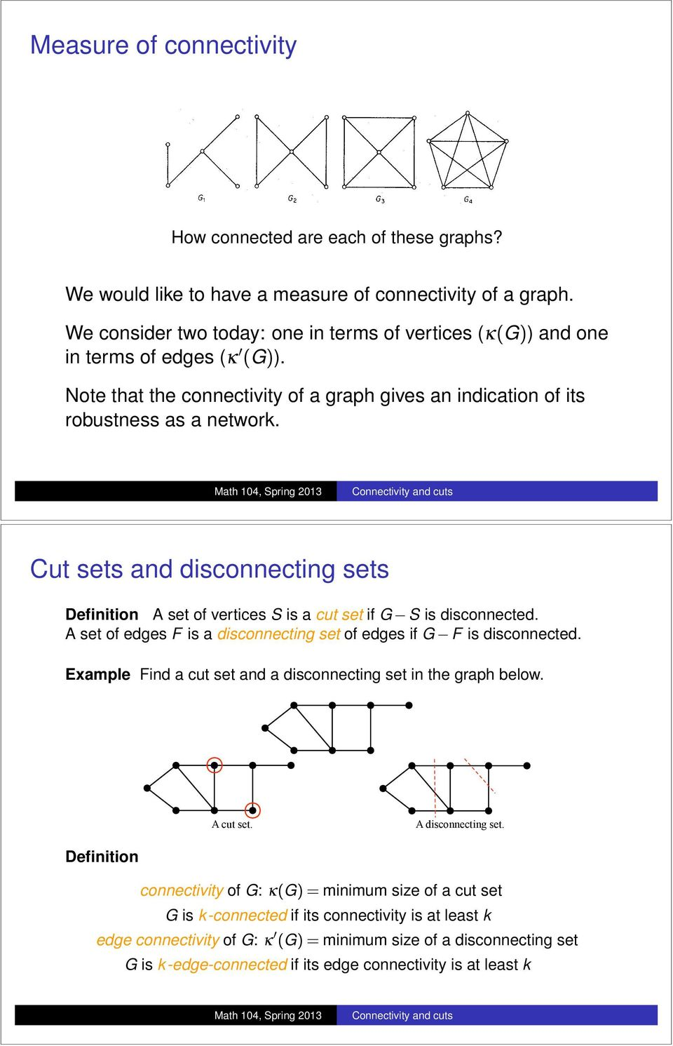 Cut sets and disconnecting sets Definition A set of vertices S is a cut set if G S is disconnected. A set of edges F is a disconnecting set of edges if G F is disconnected.