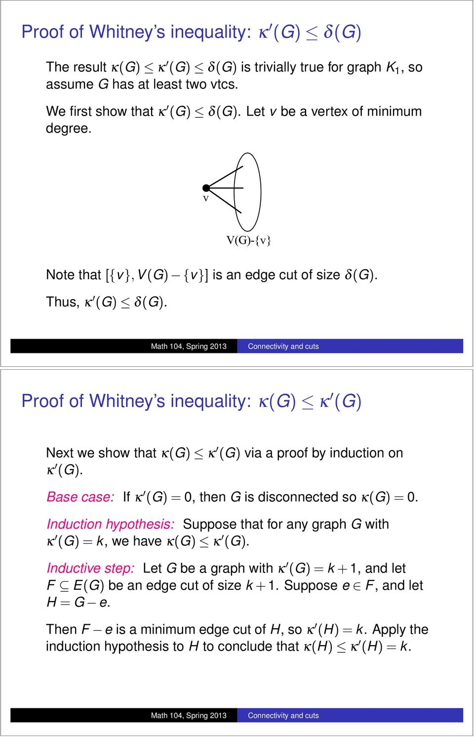 Proof of Whitney s inequality: k(g) apple k 0 (G) Next we show that k(g) apple k 0 (G) via a proof by induction on k 0 (G). Base case: If k 0 (G)=0, then G is disconnected so k(g)=0.