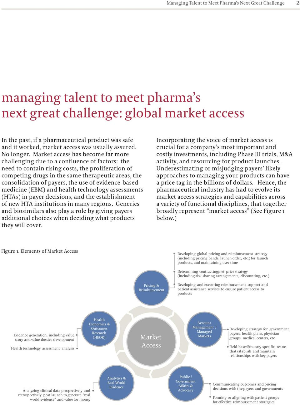 Market access has become far more challenging due to a confluence of factors: the need to contain rising costs, the proliferation of competing drugs in the same therapeutic areas, the consolidation