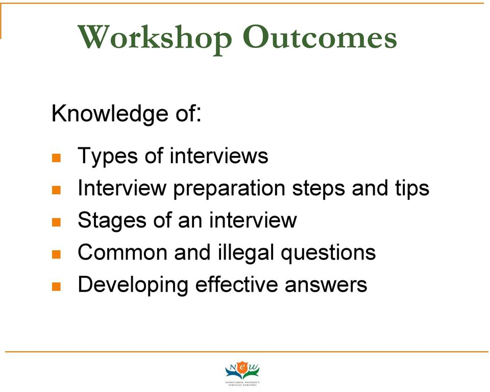 tips Stages of an interview Common and