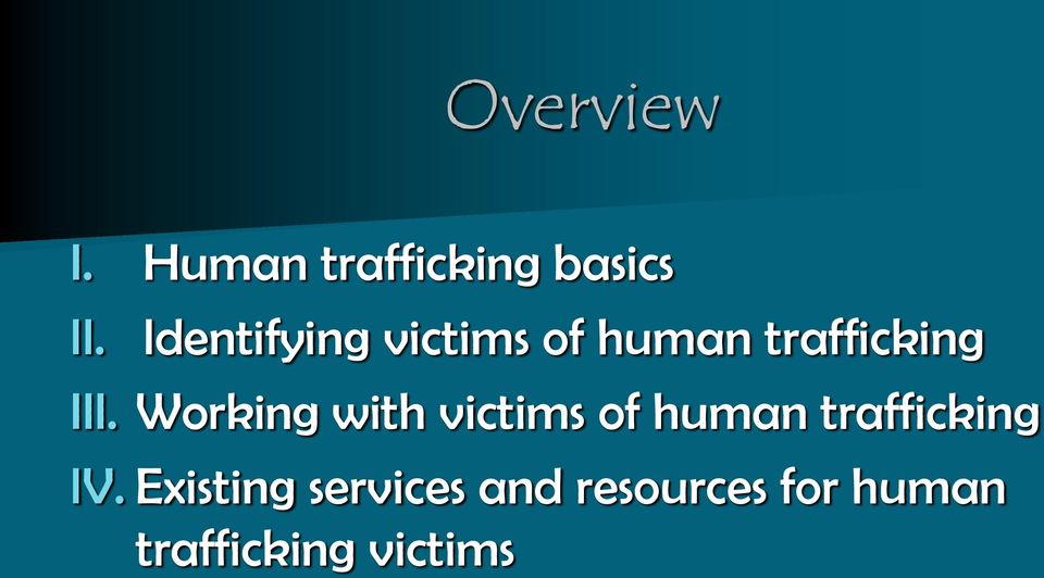 Working with victims of human trafficking IV.