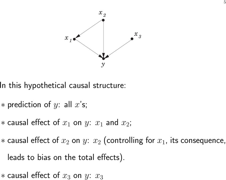 ; causal effect of x 2 on y: x 2 (controlling for x 1, its