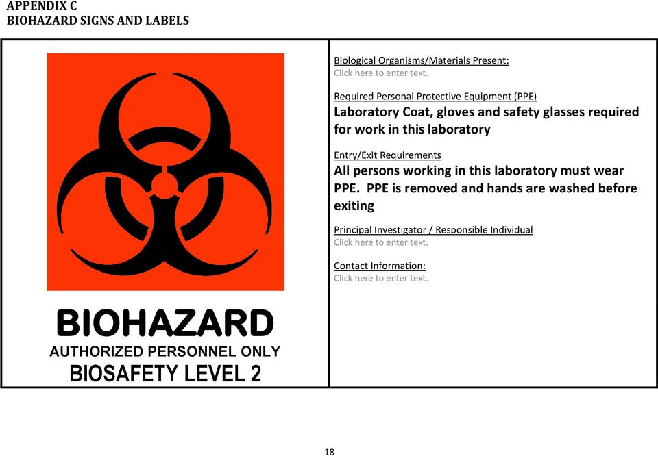 Entry/Exit Requirements All persons working in this laboratory must wear PPE.