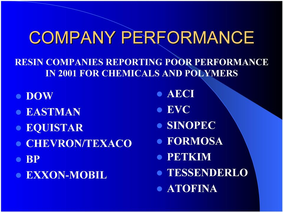 POLYMERS DOW EASTMAN EQUISTAR CHEVRON/TEXACO BP