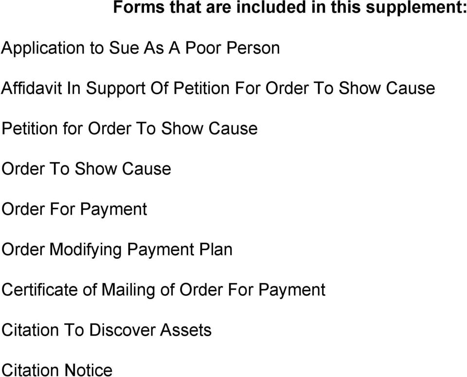 Show Cause Order To Show Cause Order For Payment Order Modifying Payment Plan
