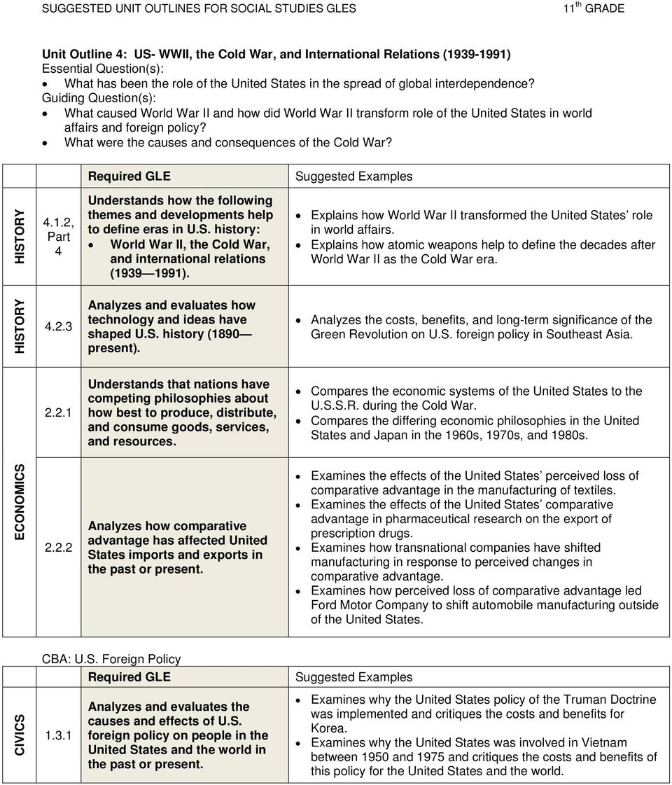 4 Understands how the following themes and developments help to define eras in U.S. history: World War II, the Cold War, and international relations (1939 1991).