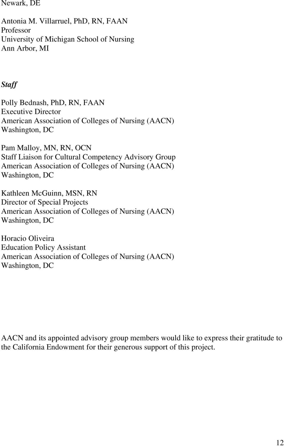 (AACN) Washington, DC Pam Malloy, MN, RN, OCN Staff Liaison for Cultural Competency Advisory Group American Association of Colleges of Nursing (AACN) Washington, DC Kathleen McGuinn, MSN, RN