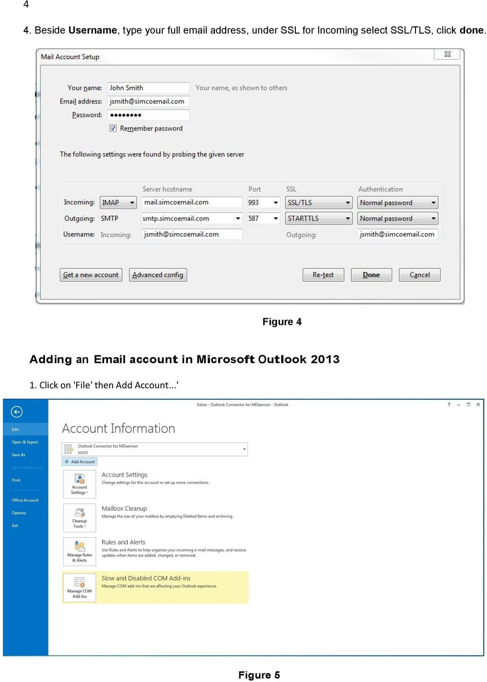 Figure 4 Adding an Email account in Microsoft