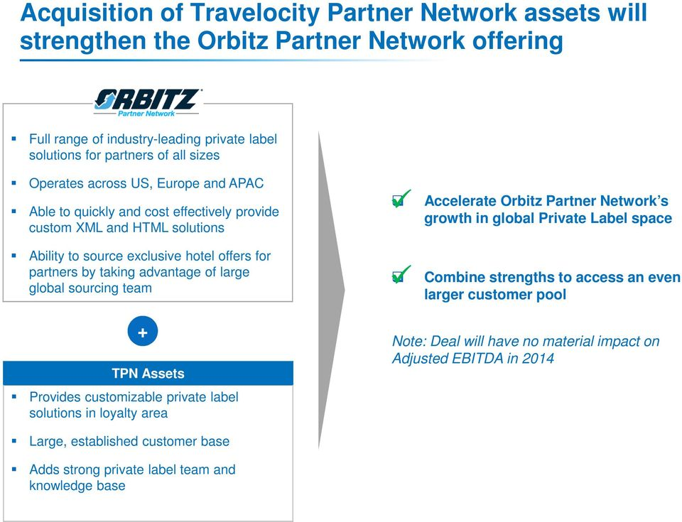 large global sourcing team TPN Assets Provides customizable private label solutions in loyalty area + Accelerate Orbitz Partner Network s growth in global Private Label space Combine
