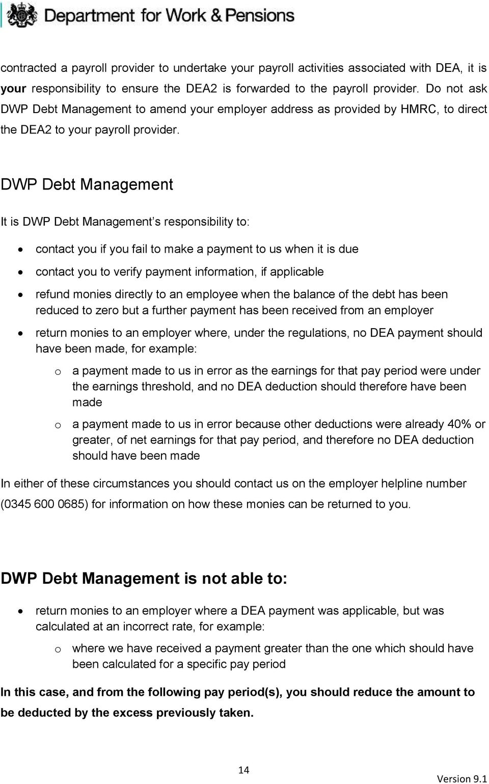 DWP Debt Management It is DWP Debt Management s responsibility to: contact you if you fail to make a payment to us when it is due contact you to verify payment information, if applicable refund