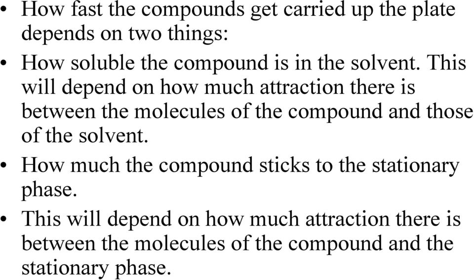 This will depend on how much attraction there is between the molecules of the compound and those