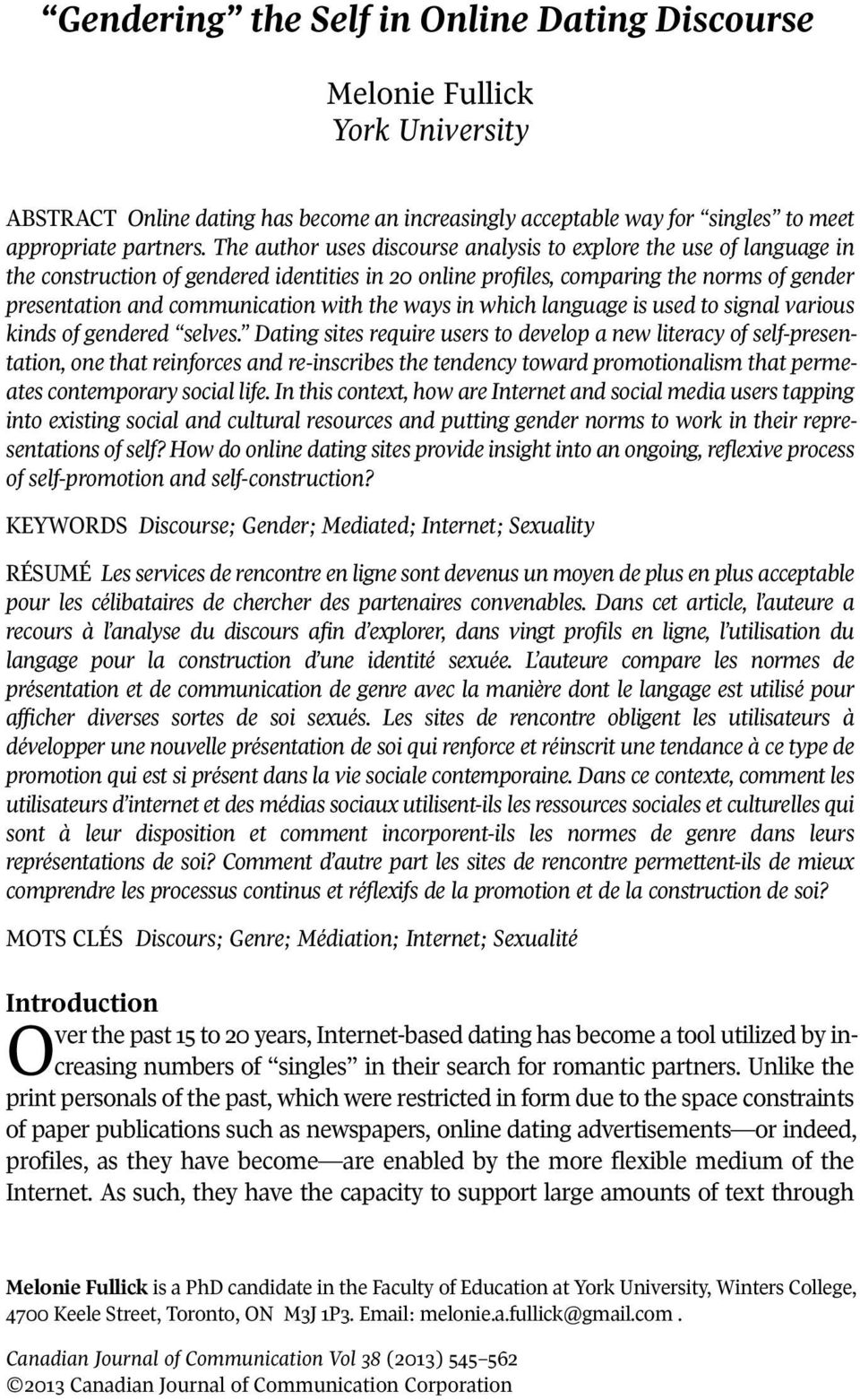 Gendering the self in online dating discourse on method