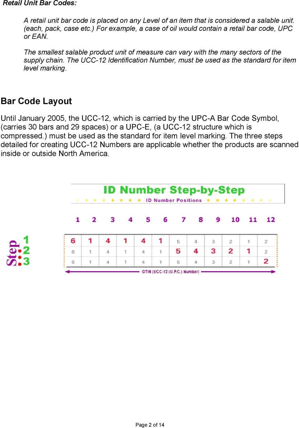 The UCC-12 Identification Number, must be used as the standard for item level marking.