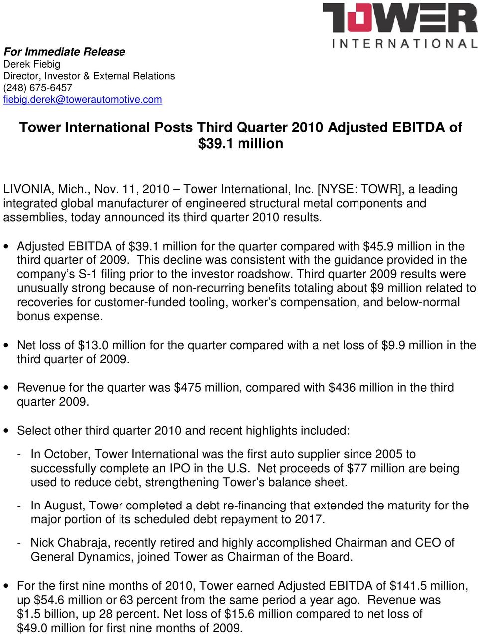 [NYSE: TOWR], a leading integrated global manufacturer of engineered structural metal components and assemblies, today announced its third quarter 2010 results. of $39.