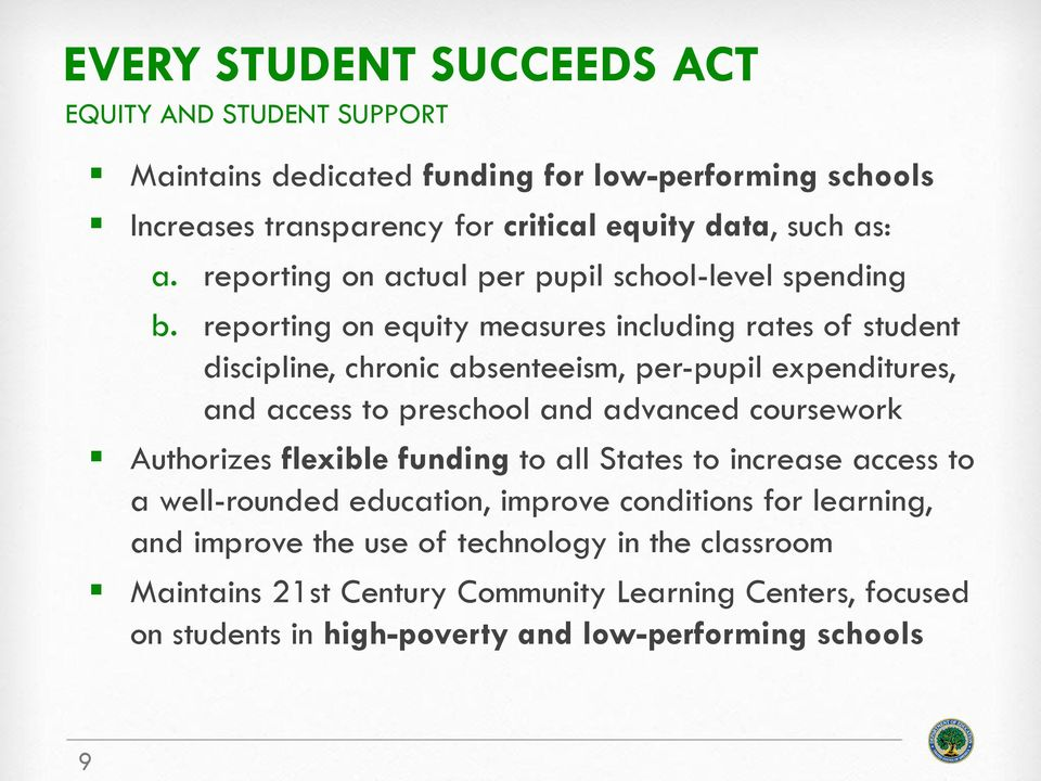 reporting on equity measures including rates of student discipline, chronic absenteeism, per-pupil expenditures, and access to preschool and advanced coursework