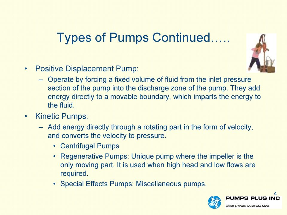 the pump. They add energy directly to a movable boundary, which imparts the energy to the fluid.