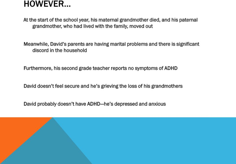 significant discord in the household Furthermore, his second grade teacher reports no symptoms of ADHD David