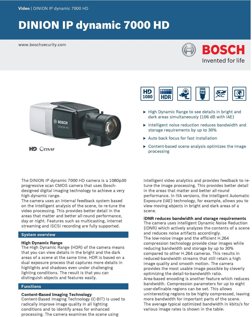 installation Content-based scene analysis optimizes the image processing The DINION IP dynamic 7000 HD camera is a 1080p30 progressive scan CMOS camera that ses Boschdesigned digital imaging