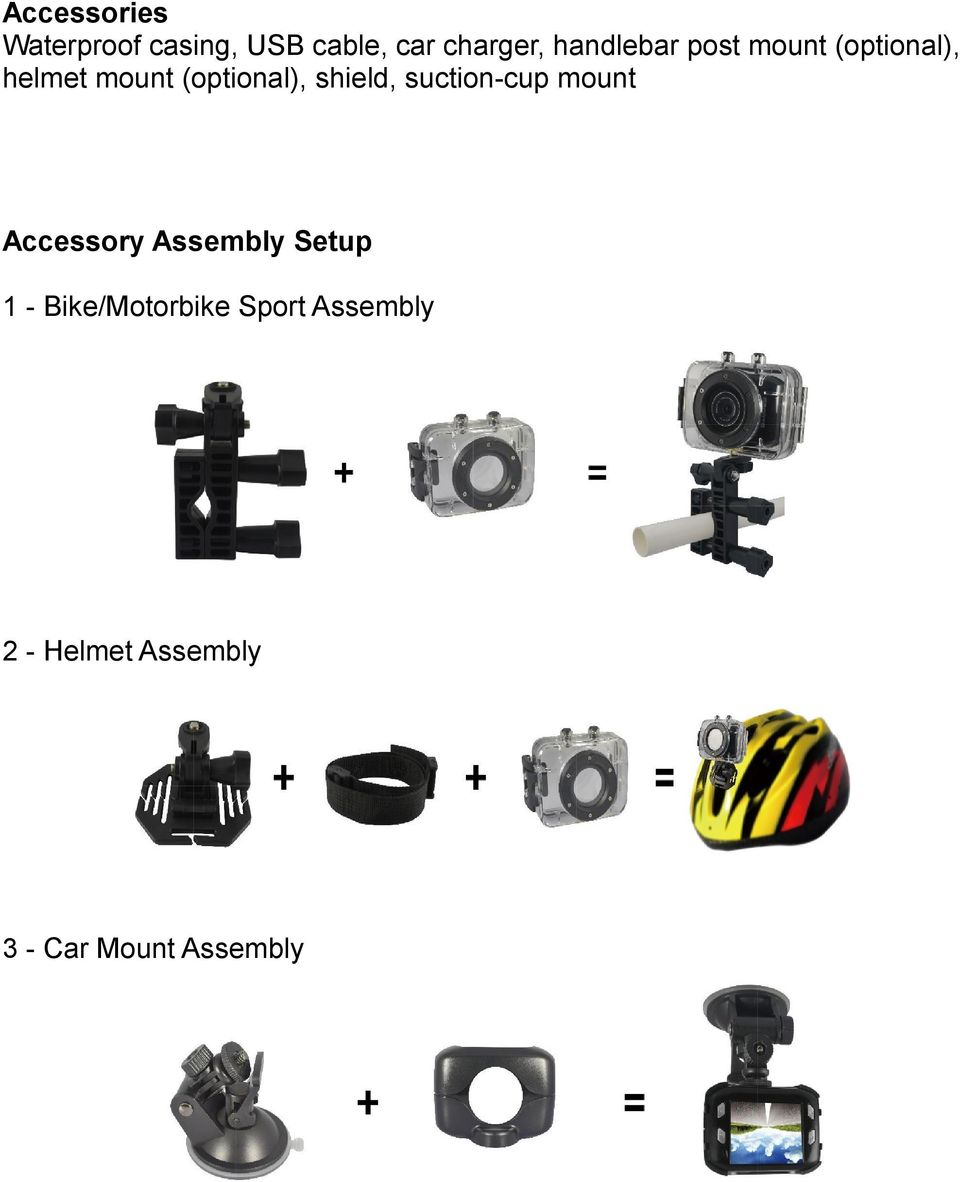 shield, suction-cup mount Accessory Assembly Setup 1 -