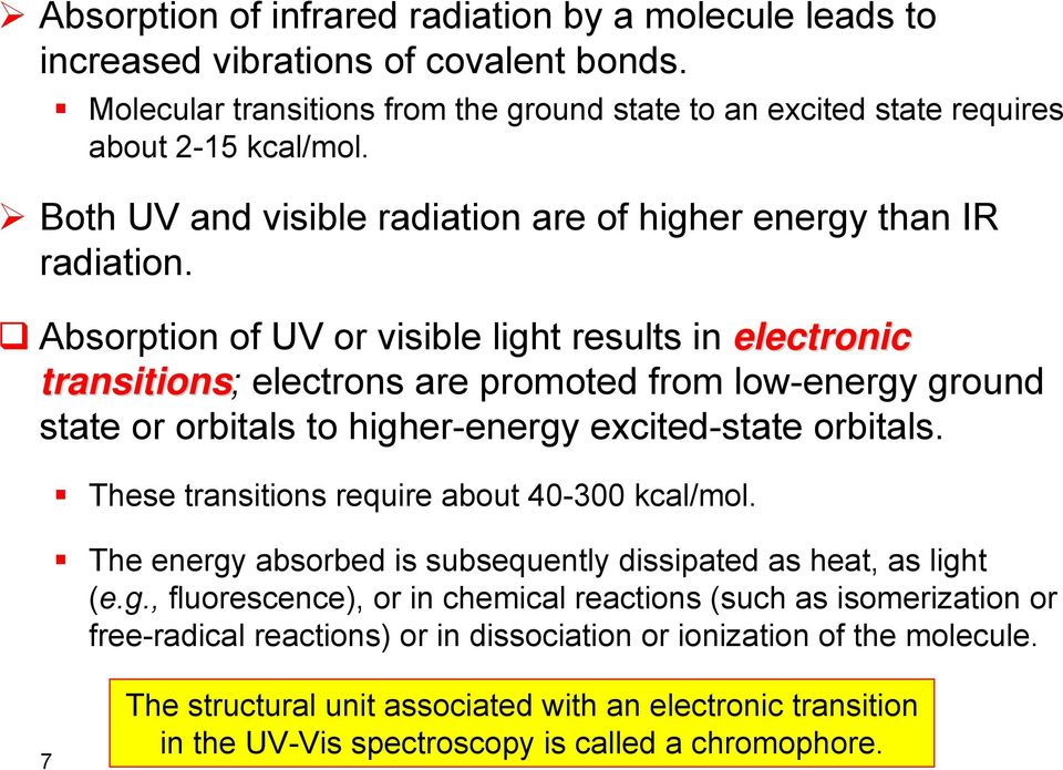 Absorption of UV or visible light results in electronic transitions; electrons are promoted from low-energy ground state or orbitals to higher-energy excited-state orbitals.