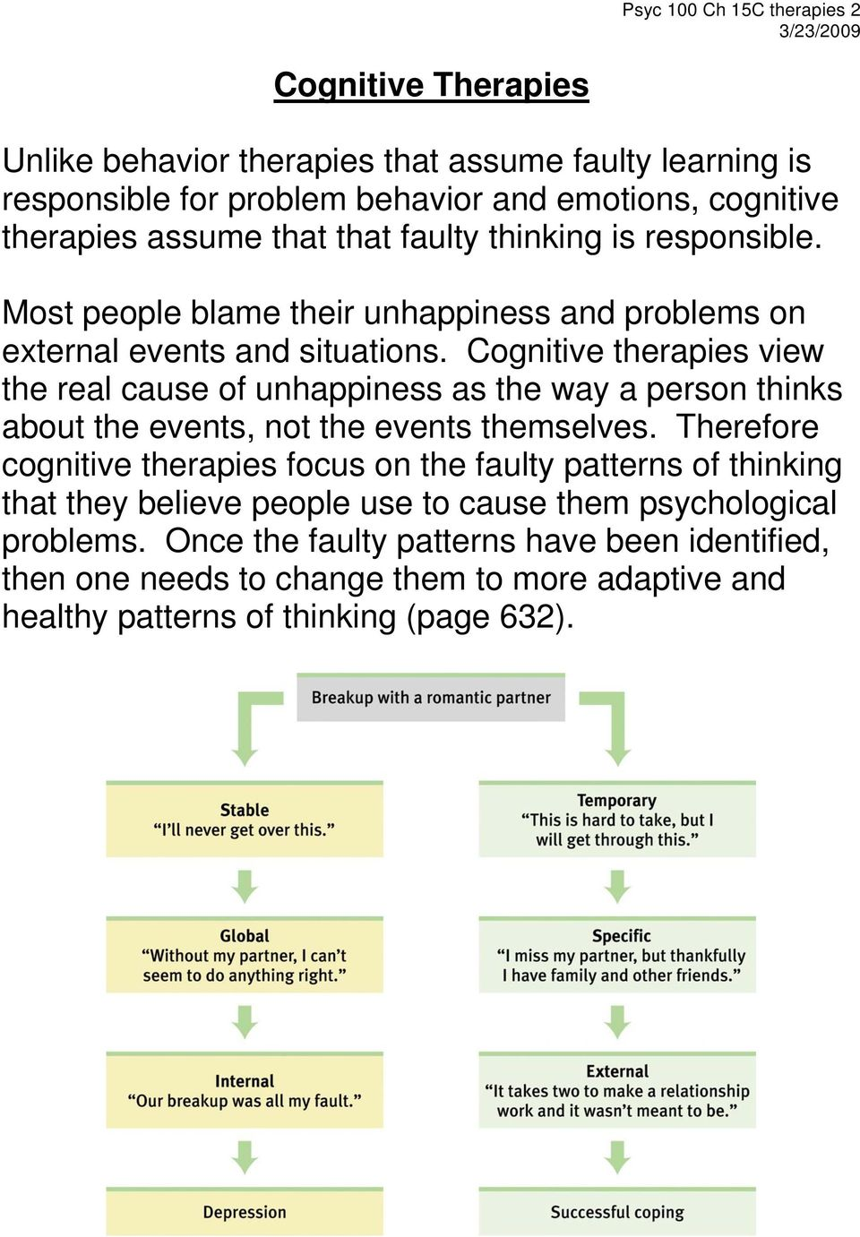 Cognitive therapies view the real cause of unhappiness as the way a person thinks about the events, not the events themselves.