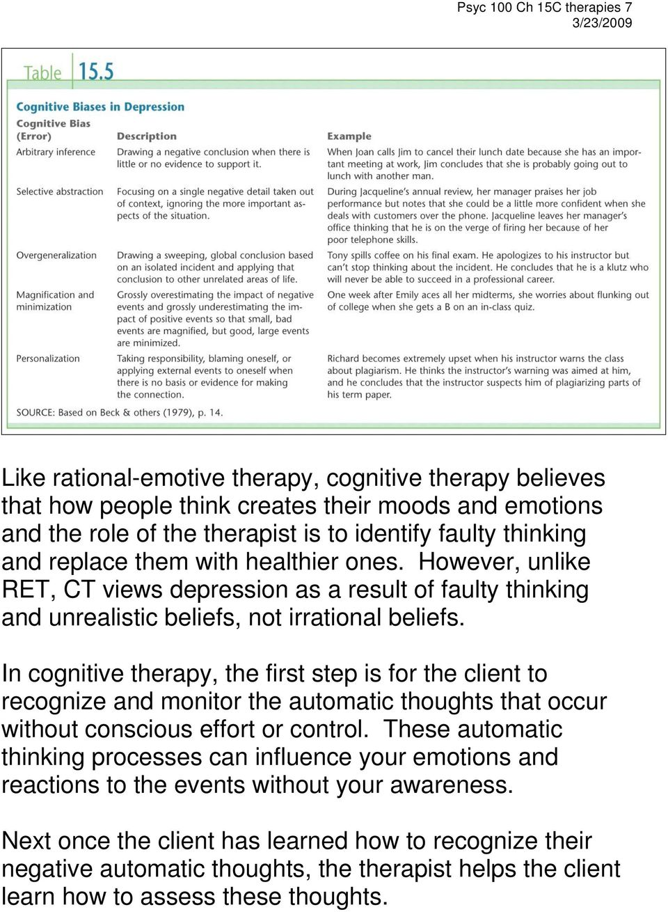 In cognitive therapy, the first step is for the client to recognize and monitor the automatic thoughts that occur without conscious effort or control.