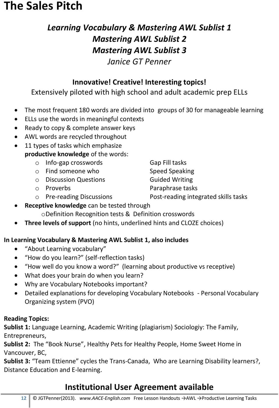 Productive Learning Activities for the AWL - PDF
