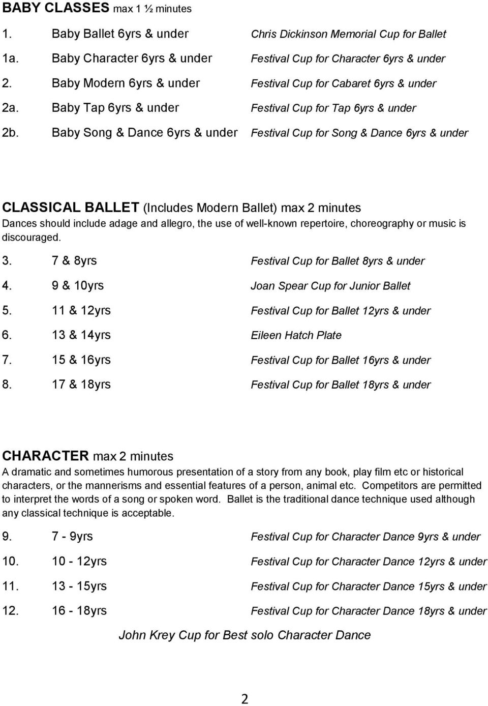 Baby Song & Dance 6yrs & under Festival Cup for Song & Dance 6yrs & under CLASSICAL BALLET (Includes Modern Ballet) max 2 minutes Dances should include adage and allegro, the use of well-known