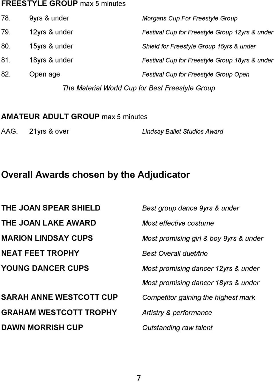 Open age Festival Cup for Freestyle Group Open The Material World Cup for Best Freestyle Group AMATEUR ADULT GROUP max 5 minutes AAG.