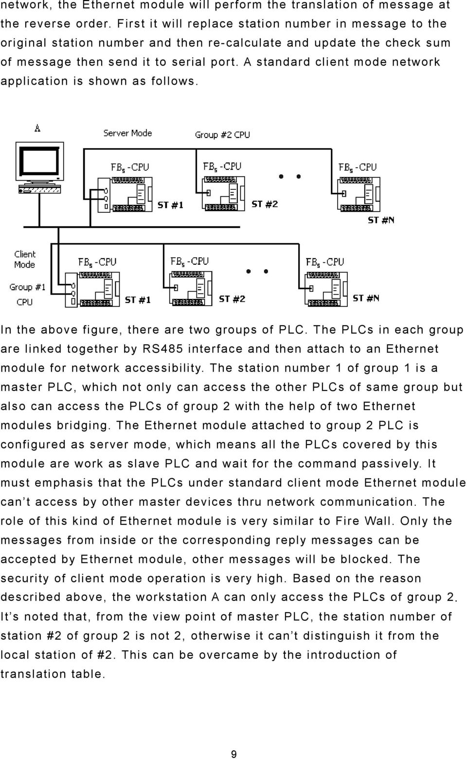 A standard client mode network application is shown as follows. In the above figure, there are two groups of PLC.