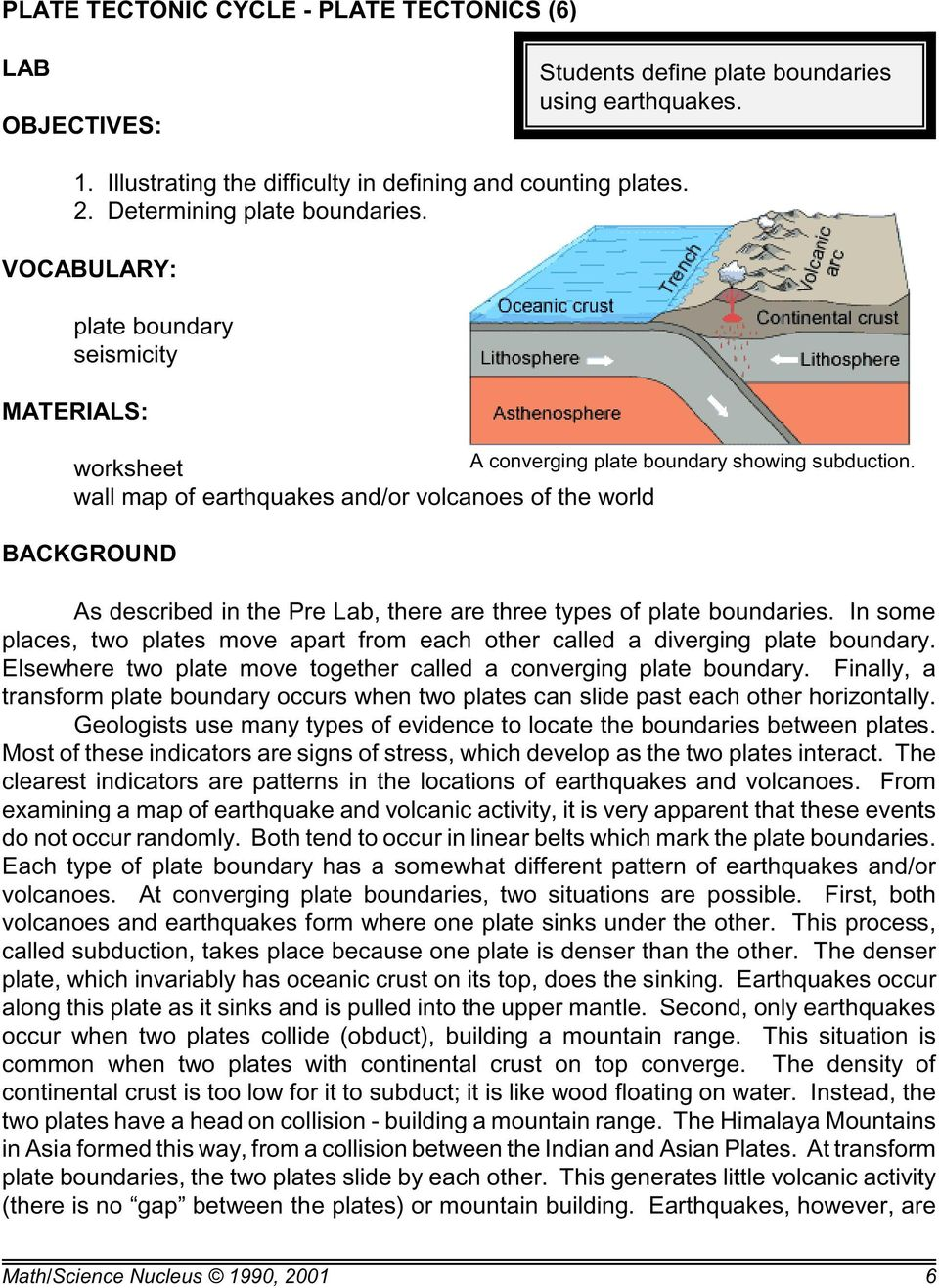 wall map of earthquakes and/or volcanoes of the world BACKGROUND As described in the Pre Lab, there are three types of plate boundaries.