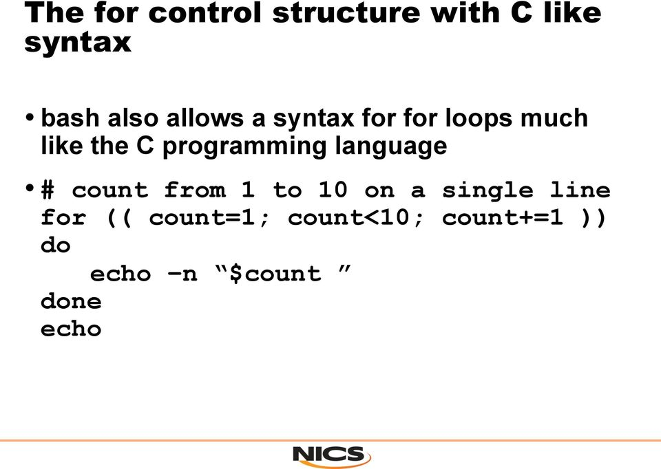 programming language # count from 1 to 10 on a single
