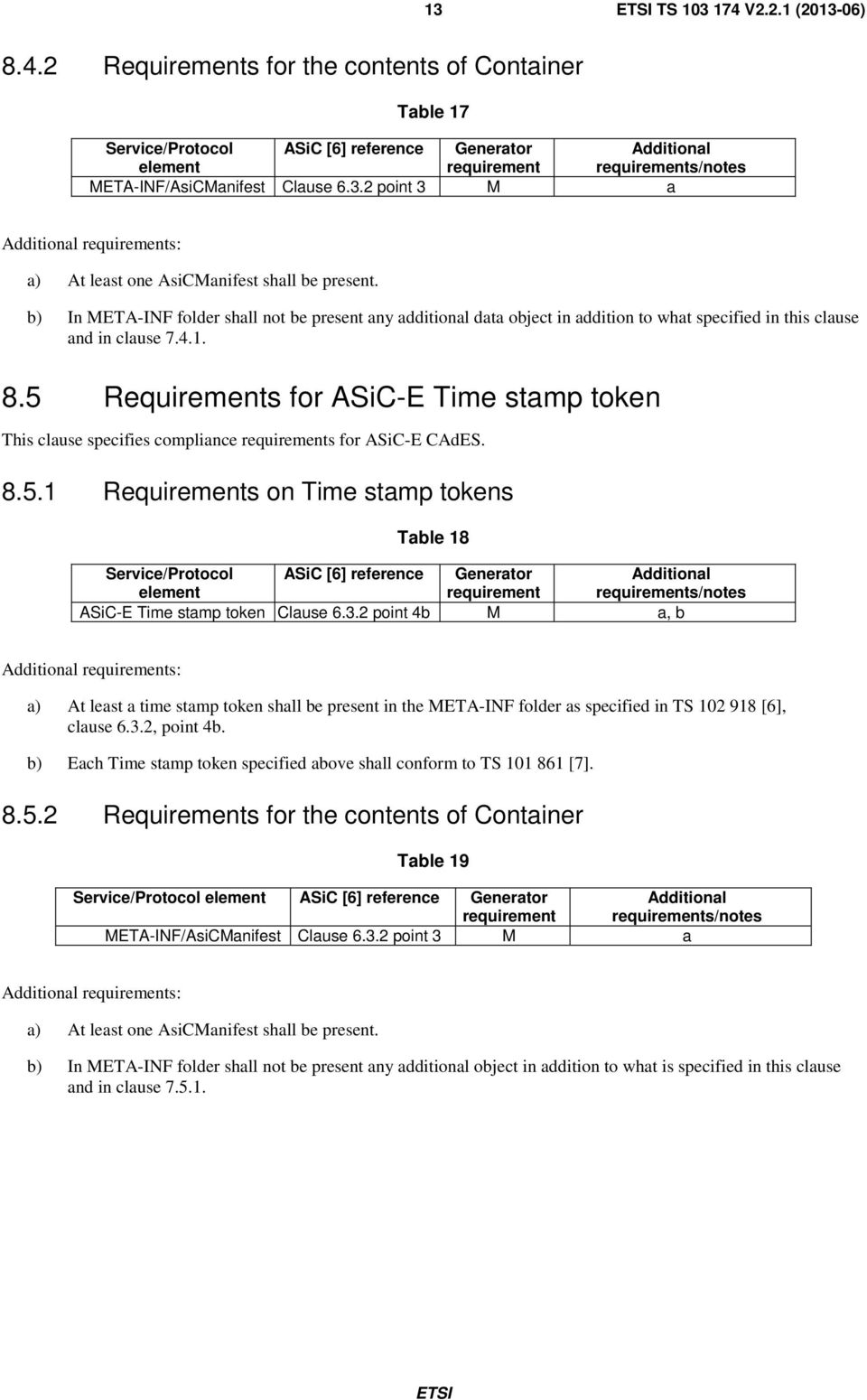 5 Requirements for ASiC-E Time stamp token This clause specifies compliance s for ASiC-E CAdES. 8.5.1 Requirements on Time stamp tokens Table 18 Service/Protocol element ASiC [6] reference ASiC-E Time stamp token Clause 6.