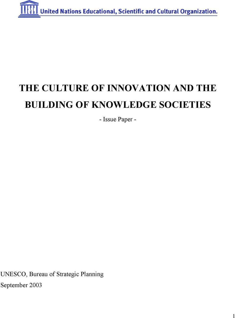 Issue Paper - UNESCO, Bureau of