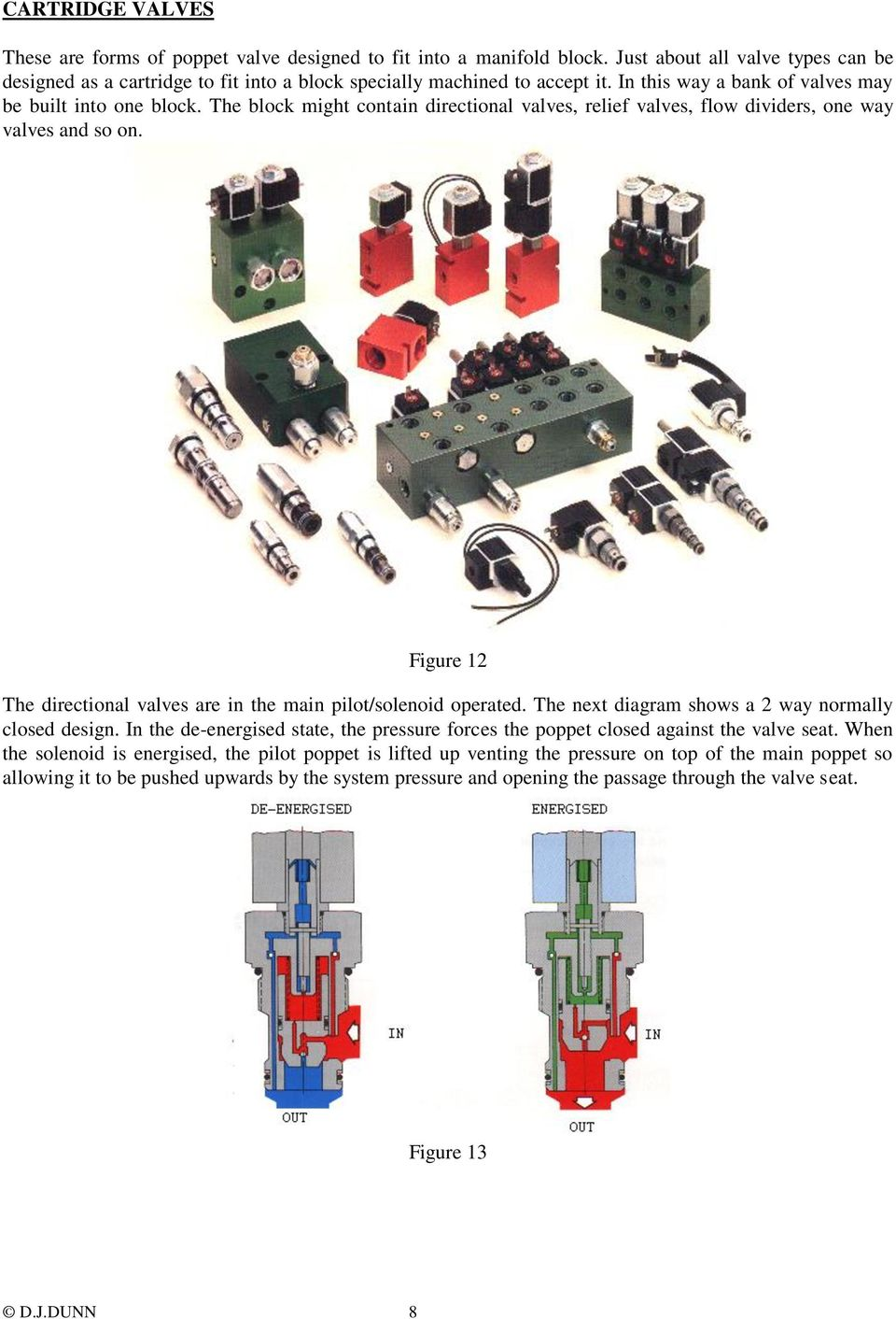 Figure 12 The directional valves are in the main pilot/solenoid operated. The next diagram shows a 2 way normally closed design.