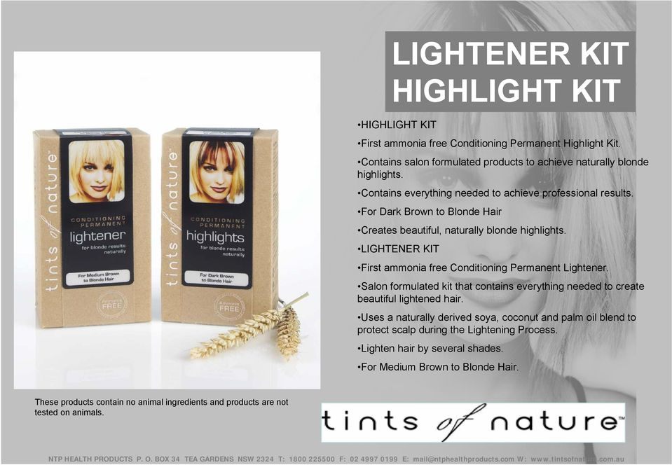 LIGHTENER KIT First ammonia free Conditioning Permanent Lightener. Salon formulated kit that contains everything needed to create beautiful lightened hair.