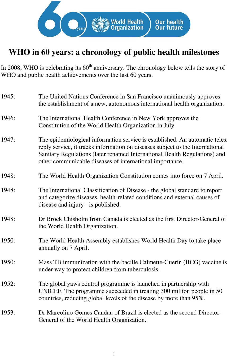 1945: The United Nations Conference in San Francisco unanimously approves the establishment of a new, autonomous international health organization.