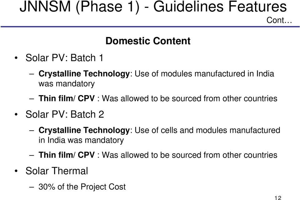 countries Solar PV: Batch 2 Crystalline Technology: Use of cells and modules manufactured in India was